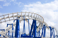 Rollercoaster tracks with blue sky Stock Photo