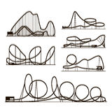 Rollercoaster vector vector black silhouettes isolated on white. Amusement park icons. Rollercoaster for amusement park, illustration of roller-coaster Stock Images