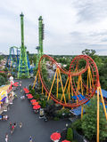 Rollercoasters at Six Flags New England Theme Park Stock Photos