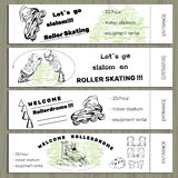 在Rollerdrom的集合手拉的票与溜冰鞋和装备 图库摄影