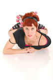 Rollergirl on the floor Stock Photography