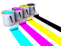 Rollers brush and buckets of paint. 3d Royalty Free Stock Image