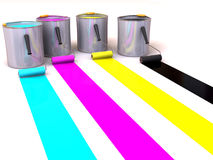 Rollers brush and buckets of paint. 3d Royalty Free Stock Images
