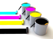 Rollers brush and buckets of paint