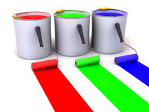 Rollers brush and buckets of paint Stock Image