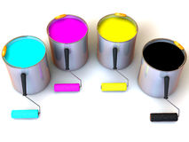 Rollers brush and buckets of paint Stock Images