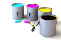 Rollers brush and buckets of paint Royalty Free Stock Photo