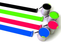 Rollers brush and buckets of paint Stock Photos
