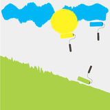 3 rollers draws sun yellow grass green sky blue Royalty Free Stock Image