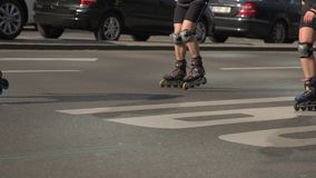 Rollers On a Road Close-up stock footage