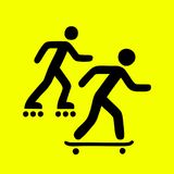 Rollers and skateboarders sign royalty free illustration