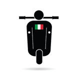 Rollerschattenbild mit Italien-Flagge Stockfotografie