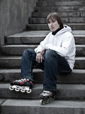 Rollerskater. Portrait of a serious rollerskating man - shallow DOF Stock Photos