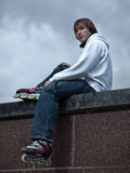 Rollerskater. Portrait of a serious rollerskating man - shallow DOF Royalty Free Stock Image