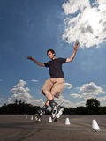 Rollerskater. Wide angle portrait of a training rollerskater Royalty Free Stock Image