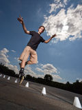 Rollerskater. Wide angle portrait of a training rollerskater Stock Photos