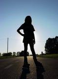 rollerskatersilhouette Royaltyfri Foto