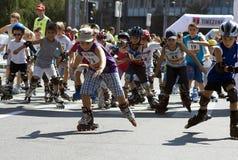 Rollerskates Rennen -1 Stockbild