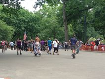 Rollerskating in Central Park. Roller skaters gathering in Central Park NYC for music and fun Stock Photography