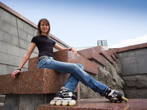 Rollerskating girl Royalty Free Stock Image