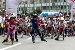 Rollerskating Race, start Royalty Free Stock Image