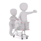 Rolling adult in shopping cart Stock Photography