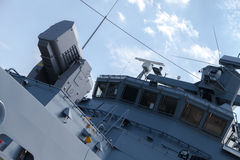 Rolling airframe missile system on German navy corvette. A rolling airframe missile system on German navy corvette Stock Photo