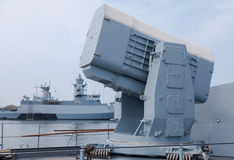 Rolling airframe missile system on German navy corvette Stock Photos