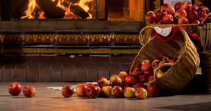 Rolling apples Stock Image