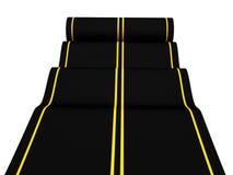 Rolling asphalt carpet road on white background. 3d royalty free illustration