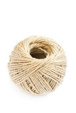 Rolling ball of hemp rope isolated on white Royalty Free Stock Photos