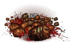 Rolling barrels. Vector illustration of rolling red wine barrels Stock Photo