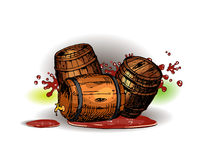 Rolling barrels. Royalty Free Stock Images