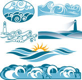 Rolling Blue Seas. Clip art of abstract rolling blue seas and waves Royalty Free Stock Images