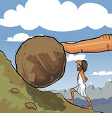 Rolling a boulder. Illustration of king Sisyphus rolling a boulder up the hill. A big God's finger helps him to roll it Stock Images