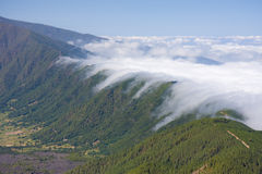 Rolling clouds. Over the Cumbre Nueva, La Palma, Canary Islands royalty free stock photography
