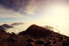 Rolling clouds and mountain landscape Royalty Free Stock Photo
