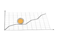 Rolling coin and diagram Royalty Free Stock Photo
