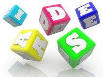 Rolling colorful cubes with ideas concept on white. In background stock illustration