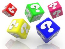 Rolling colorful cubes with question marks concept on white. In background vector illustration