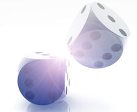 Rolling dice. Illustration, glossy metal chrome style royalty free illustration