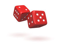 Rolling Dice. Isolated pair of red dice with soft shadows Stock Image