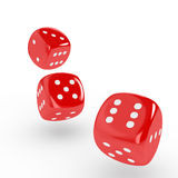 Rolling Dice. Three red dice on white background. Computer generated image with clipping path stock illustration
