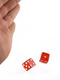 Rolling the Dice. A hand rolling two red dice royalty free stock photo