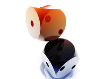 Rolling dice. Illustration, glossy metal chrome style stock illustration