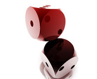 Rolling dice. Illustration, glossy metal chrome style vector illustration