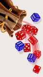 Rolling the Dice. Rolling the blue and red dice Royalty Free Stock Image