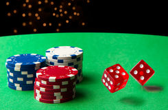 Rolling Dice At the Casino Royalty Free Stock Photo