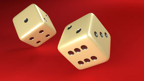 Rolling Dice pair red background. A pair of white dice rolling on red background royalty free illustration