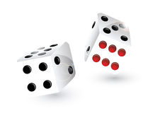 Rolling dice. With red and black spots Royalty Free Stock Photo